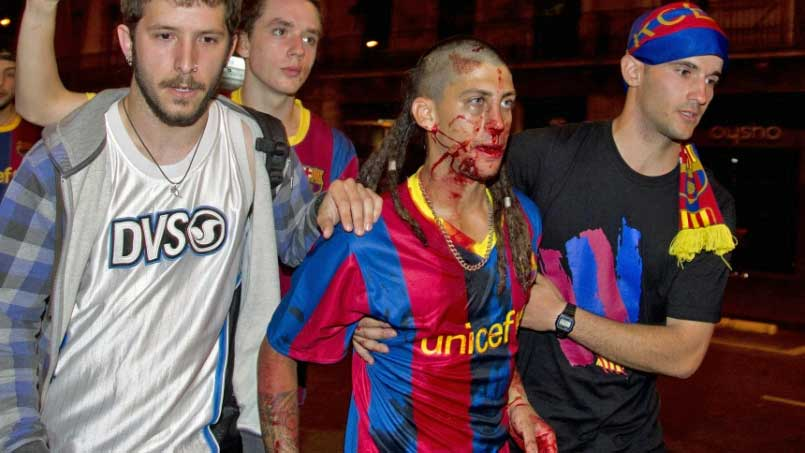 Shortly after FC Barcelona won the Champions League final in London, riots broke out in Spain.