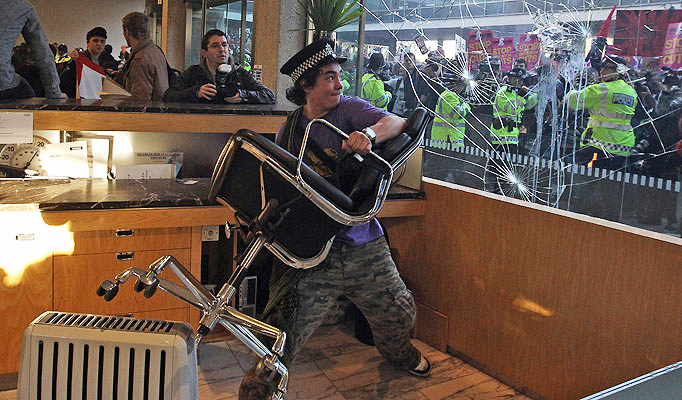 A brave student protesting peacefully.