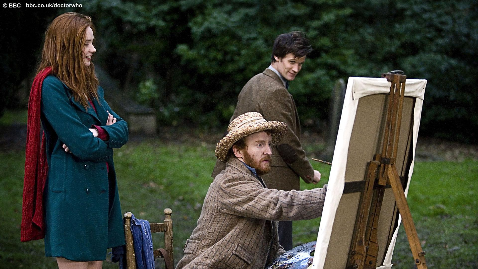The Doctor, Amy and Vincent painting a Krafayis.